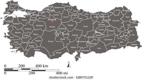 Turkey map provinces outline vector scales of miles and kilometers. Turkish map with labeled names of provinces