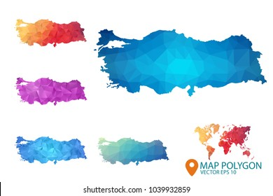 Turkey Map - Set of geometric rumpled triangular low poly style gradient graphic background , Map world polygonal design for your . Vector illustration eps 10.