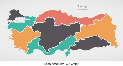 Turkey Map with states and modern round shapes