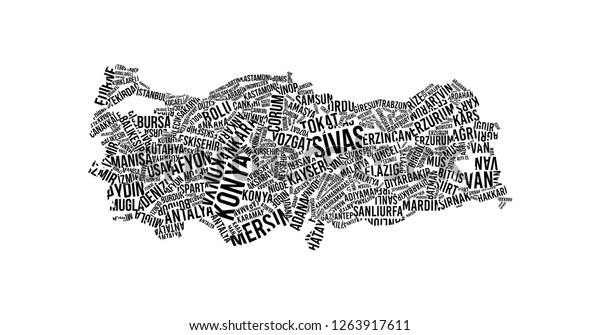 Turkey Map Typography Word Cloud Concept Stock Vector ...