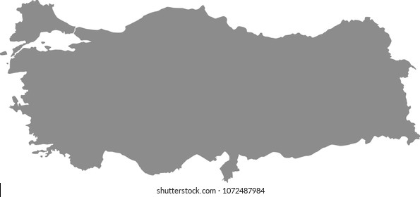 Turkey map vector outline illustration gray background. Highly detailed accurate map of Turkey prepared by a map expert.