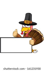 Turkey Mascot - Holding A Blank Sign