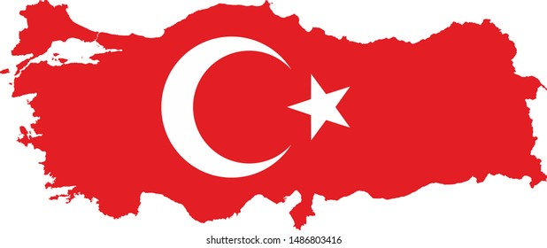 Turkey national flag and map.