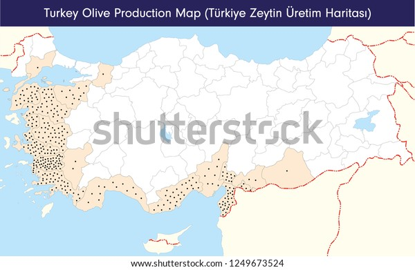 Turkey Olive Production Map Stock Vector (Royalty Free