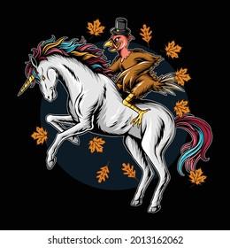 turkey on thanksgiving day riding a unicorn running fast