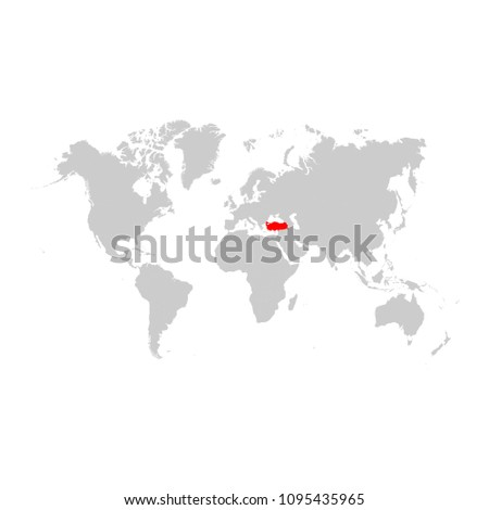 Turkey On World Map Stock Vector (Royalty Free) 1095435965 ...