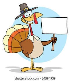 Turkey With Pilgrim Hat Holding A Blank Sign