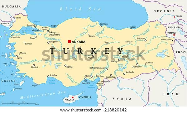 Turkin Poliittinen Kartta Paakaupunki Ankara Kansalliset