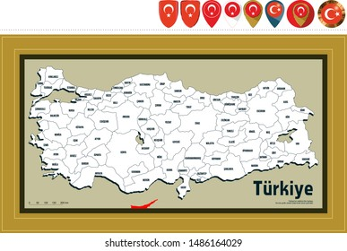 Turkey provinces map. Blank and High detailed. All province maps are available as separate usable vectors. Maps and poster