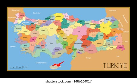 Turkey provinces map. High detailed. All province maps are available as separate usable vectors. Maps and poster