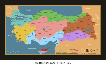 Turkey provinces and regions map. High detailed. All province maps are available as separate usable vectors. Maps and poster.