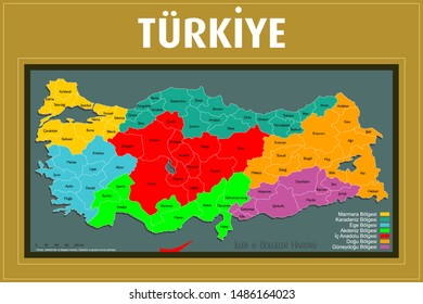 Turkey provinces and regions map. Turkish and high detailed. All province maps are available as separate usable vectors. Maps and poster.
