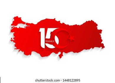 Turkey red map on 15 July, Happy Holidays Democracy Republic new logo, celebration background, new logo, vector, illustration, eps file