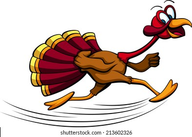 a turkey running with a big smile on his face.