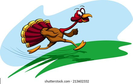a turkey running with a big smile on his face grass & sky background