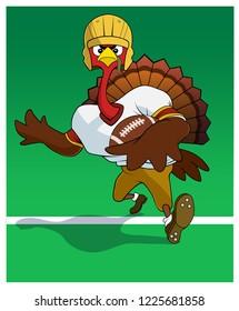 A turkey runs with a football