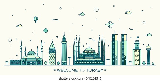 Turkey skyline, detailed silhouette. Trendy vector illustration, linear style
