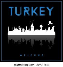 Turkey skyline silhouette vector design on black background.