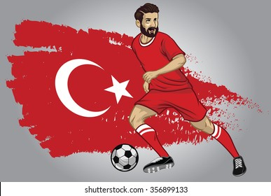 Turkey soccer player with flag as a background