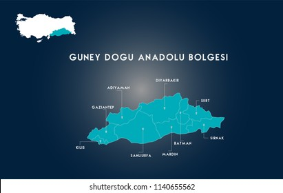 Turkey Southeastern Anatolia Region Map ( Turkish Turkiyenin Guneydogu Anadolu Bolgesi, Adiyaman, Gaziantep, Kilis, Sanliurfa, Mardin, Batman, Sirnak, Siirt, Diyarbakir Haritasi)