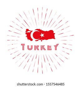Turkey sunburst badge. The country sign with map of Turkey with Turkish flag. Colorful rays around the logo. Vector illustration.