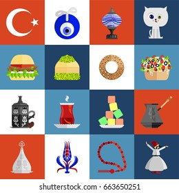Turkey symbol icon set. Set of 16 Turkey symbol icons such as flag, lamp, cat, doner burger, baklava dessert, bagel (simit), baked potato (kumpir), Turkish coffee, tea, turkish delight, tulip, dervish