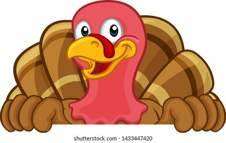 Turkey Thanksgiving or Christmas bird animal cartoon character peeking over a background sign