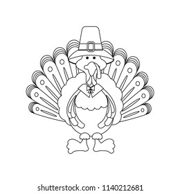 Turkey thanksgiving day on the white background. Vector illustration