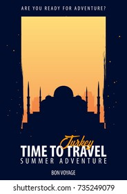Turkey. Time to Travel. Journey, trip and vacation. Vector travel illustration