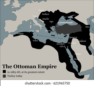 Turkey today and the Ottoman Empire at its greatest extent in 1683 - history map of its territory expansion and military acquisition in Europe, Asia and Africa - vector illustration.