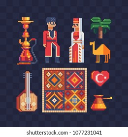 Turkey traditional culture elements pixel art icons set Part2. Turkish carpet and people in a national dress, Hookah, camel, coffee pot cezve, saz isolated vector illustration. Design for logo and app