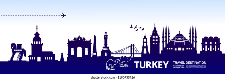 Turkey travel destination vector.