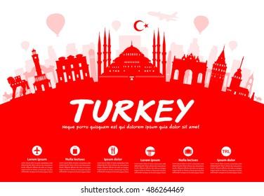 Turkey  Travel Landmarks. Vector and Illustration