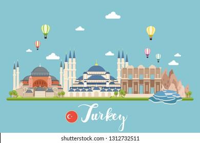 Turkey Travel Landscapes Vector Illustration