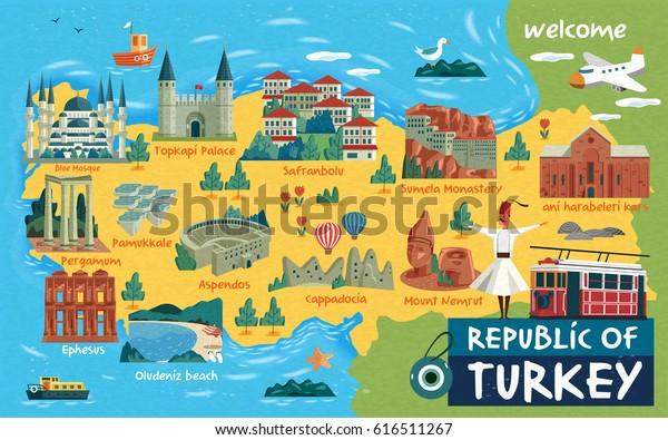 Turkki Matka Kartta Ja Turkin Sanat Arkistovektori Rojaltivapaa