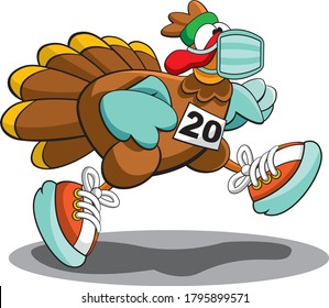 Turkey Trot 2020 Logo Character Thanksgiving