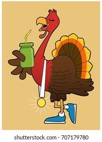 Turkey Trot Winner / A turkey displays a winner's metal.