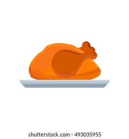 Turkey vector flat icon illustration thanksgiving day on dish isolated. Meal natural bird hat pilgrim fowl, brown, holiday symbol chicken. Graphic farm design color art silhouette food harvest cartoon