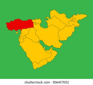 Turkey vector map silhouette illustration isolated on Middle east vector map.