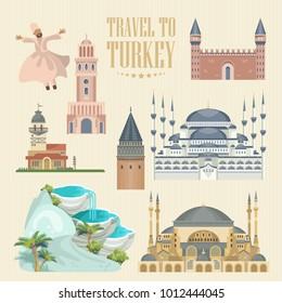 Turkey vector vacations illustration. Travel agency poster.