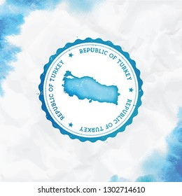 Turkey watercolor round rubber stamp with country map. Turquoise passport stamp with circular text and stars, vector illustration.