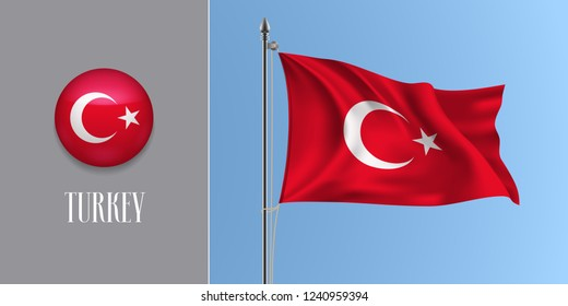 Turkey waving flag on flagpole and round icon vector illustration. Realistic 3d mockup of red Turkish flag and circle button