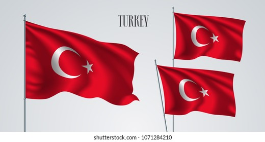 Turkey waving flag set of vector illustration. White red colors of Turkey wavy realistic flag as a patriotic symbol
