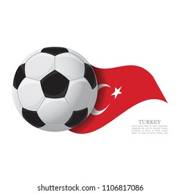 Turkey waving flag with a soccer ball. Football team support concept