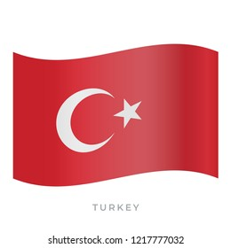 Turkey waving flag vector icon. National symbol of Turkey. Vector illustration isolated on white.