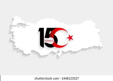 Turkey white map on 15 July, Happy Holidays Democracy Republic new logo, celebration background, new logo, vector, illustration, eps file