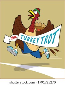 A turkey,in running gear, crosses the finish line of a race.