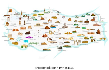 Turkey's historical and touristic places. 84 touristic place. Vector images.