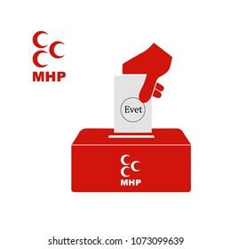Turkey's local elections,  Nationalist Movement Party ballot vector work (Turkish turkiye baskanlik secimleri Milliyetci Hareket Partisi vektor calismasi)  June 20,2018, istanbul, Turkey