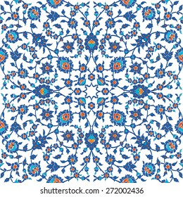 Turkish, Arabic, African, Islamic Ottoman Empire's era traditional seamless ceramic tile, vector floral pattern